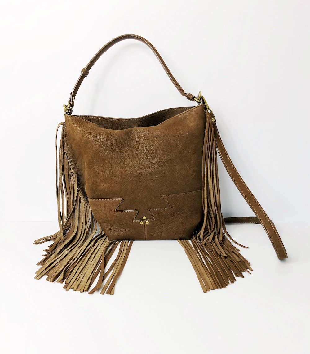 Brown Leather Bag With Fringes Model